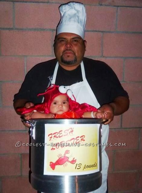 Coolest Homemade Lobster Baby and Daddy Chef Costumes