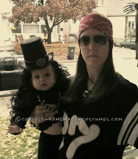 Cute Mother and Baby Guns N' Roses Homemade Halloween Costume