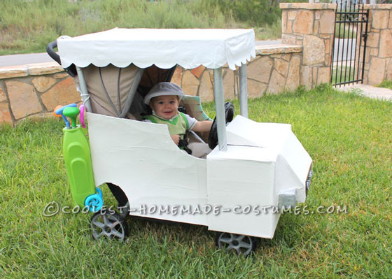 Coolest Baby Golfer in a Golf Cart Stroller Costume