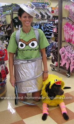 Homemade Big Bird Dog and Oscar the Grouch Handler Costume