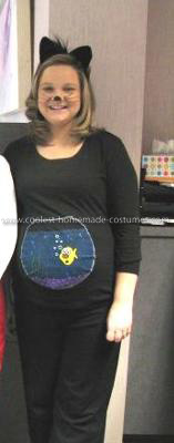 Homemade Cat Who Swallowed the Fishbowl Pregnant Costume