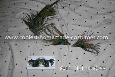 Here the fake eyelashes that look like peacock feathers, the pieces we glued above her eyes, and the hairpiece I made