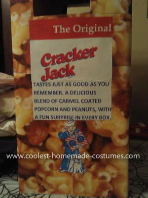 Coolest Cracker Jack Box Costume - Right side of costume