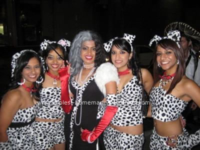 Homemade Cruella and her Dalmatians Group Costume