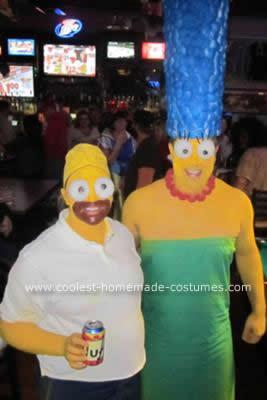 Homemade DIY Homer and Marge Simpson Halloween Couple Costume