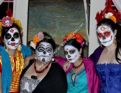 Homemade DIY Mexican Sugar Skull Dia de los Muertos Inspired Group Halloween Costume