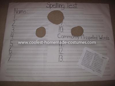 Coolest FAILED Spelling Test Costume - Costume before Spelling test words written in by my son