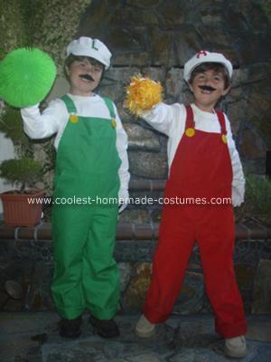 Homemade Fire Mario and Fire Luigi Halloween Costumes