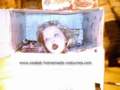 Homemade Frozen Head in Fridge Costume