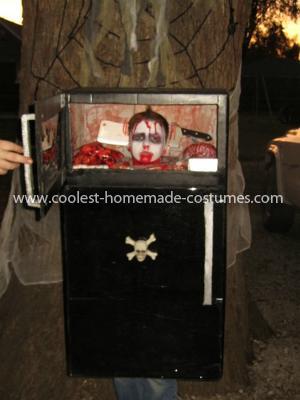 Homemade Frozen Head in Refrigerator Costume