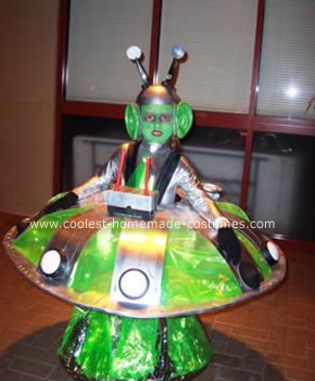 Homemade Alien in a UFO Costume