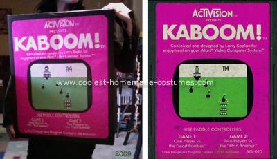 Homemade Atari Cartridge Kaboom Costume