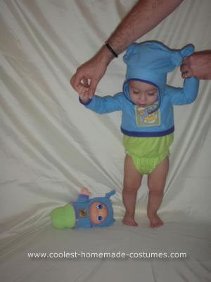 Homemade Baby Gloworm Costume
