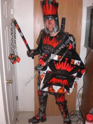Homemade Beer Knight Halloween Costume with the Flail