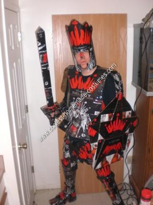 Homemade Beer Knight Halloween Costume with Sword and Shield