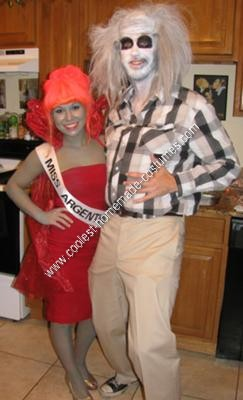 Homemade Beetlejuice and Miss Argentina Couple Halloween Costume