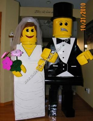 Homemade Bride and Groom Lego Halloween Couple Costume Idea