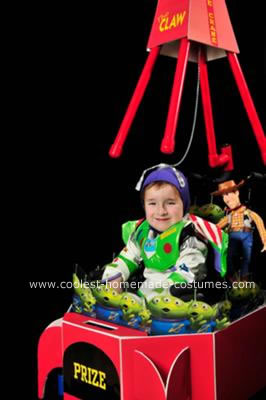 Homemade Claw Machine with Buzz and Woody Wheelchair Costume