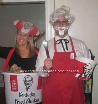 Homemade Colonel Sanders and KFC Chicken Bucket Couple Costume