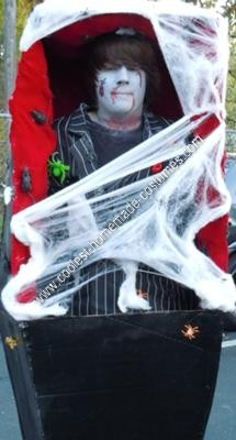 Homemade Corspes in a Coffin Halloween Costume Idea