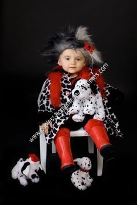 Homemade Cruella Deville Child Halloween Costume Idea
