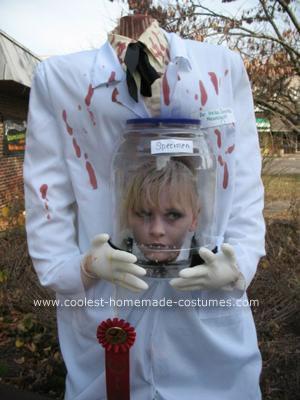 Homemade Decapitated Mad Scientist Halloween Costume Idea