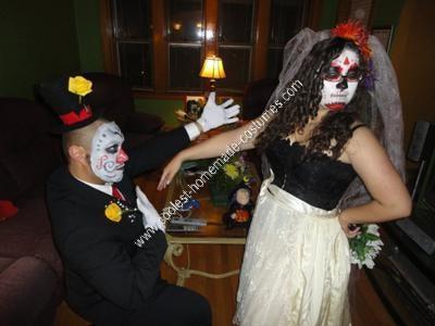 Homemade Dia de los Muertos Bride and Groom Couple Costume