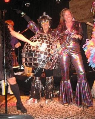 Homemade Disco Ball and Disco Dancer Couple Costume
