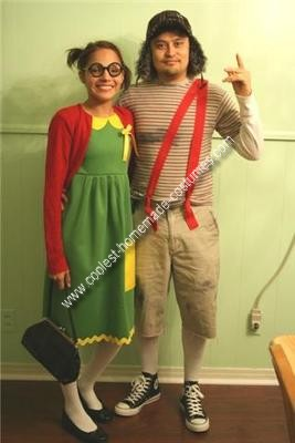 Homemade El Chavo del Ocho and Chilindrina Couple Costume
