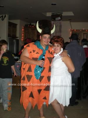 Homemade Fred and Wilma Flintstone Couple Costume