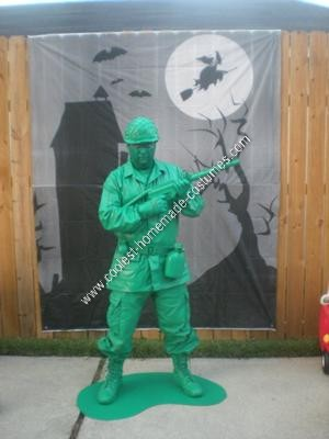 Homemade Green Army Man Halloween Costume Idea
