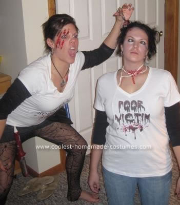 Homemade Killer Hair Stylist And Victim Couple Halloween Costume Idea
