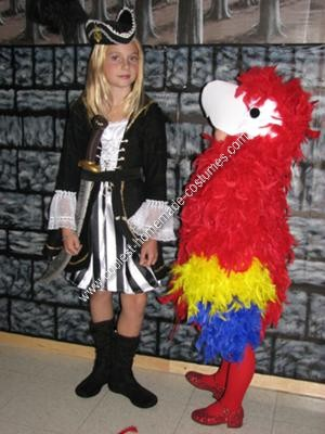 Homemade Lady Buccaneer Pirate with her Parrot Couple Costume