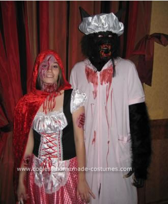 Homemade Little Red Riding Hood and Big Bad Wolf Couple Halloween Costume