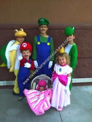 Homemade Mario Children's Group Halloween Costume