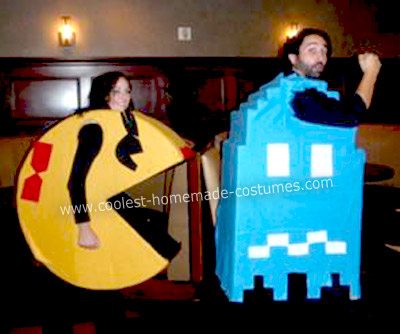 Homemade Ms. Pacman Chasing Blue Ghost Costumes