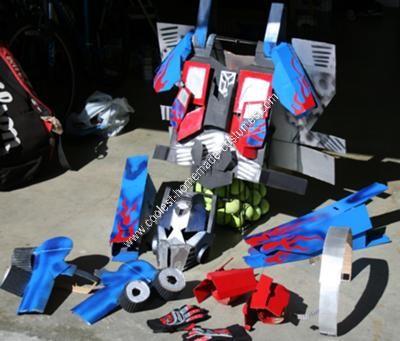 Homemade Optimus Prime Adult Halloween Costume Idea