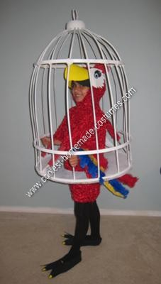 Homemade Parrot in a Cage Halloween Costume Idea