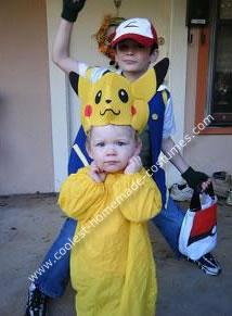 Homemade Pokemon, Pikachu and Ash Group Costume