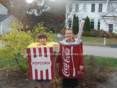 Homemade Popcorn and Coke Costumes