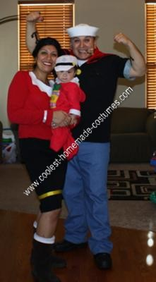 Homemade Popeye, Olive Oyl, and Sweet Pea Group Costume Ideas