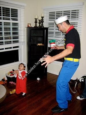 Homemade Popeye, Olive Oyl and Sweet Pea Group Halloween Costume