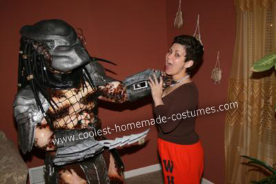 Homemade Predator Costume (found a victim!)