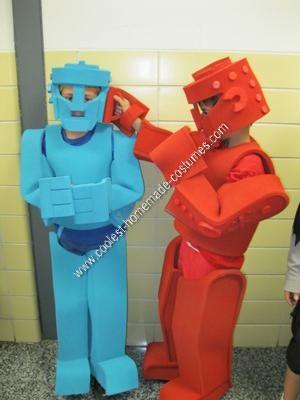 Homemade Rock'em Sock'em Robots Couple Halloween Costume at the School Party