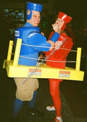 Homemade Rock'em Sock'em Robots Couple Halloween Costume Idea