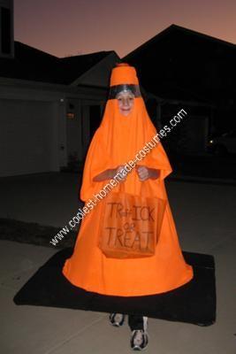 Homemade Traffic Cone Halloween Costume Idea