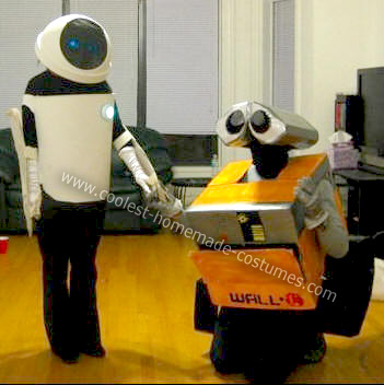 ChHomemade Wall-E and Eve Couple Costume