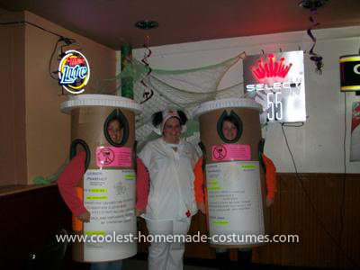 Homemade Nurse and Pill Bottles Group Costume