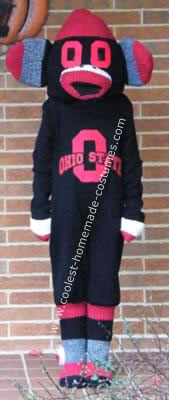 Homemade Ohio State Buckeye Sock Monkey DIY Halloween Costume
