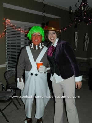 Homemade Oompa Loompa and Willy Wonkette Costumes